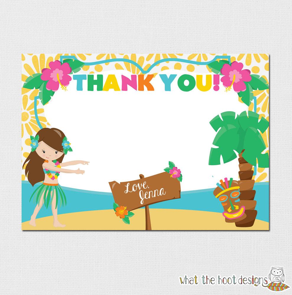 Luau Thank You Card Luau Birthday Party Luau Pool Party – Hawaiian Birthday Greetings