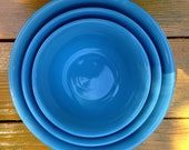 Vintage Set of 3 Aqua Blue Oxford Stoneware Nesting or Mixing Bowls~ In Near Perfect Condition!!!