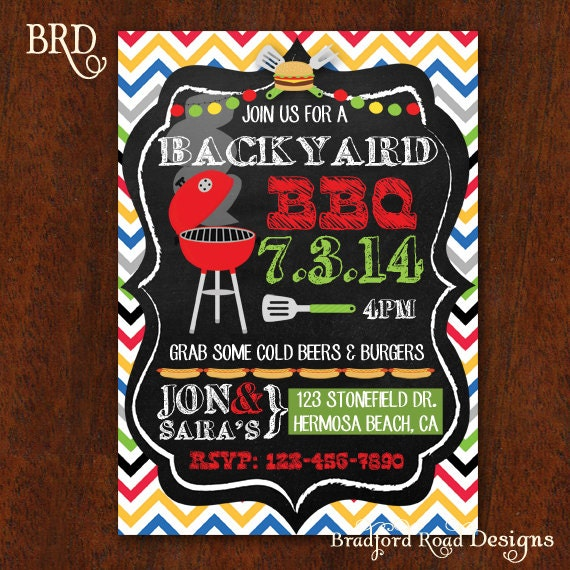 ... Barbecue Party Burgers Hotdogs Potluck Picnic invitation Printable 5x7