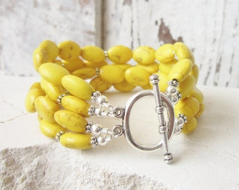 Yellow Turquoise Bracelet.Yellow Howlite Multi Strand Bracelet.Yellow Semi Precious Stone Bracelet.Yellow Bridesmaids Jewelry.Yellow Jewelry