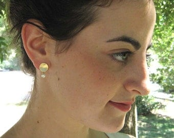 14k Solid Gold Stud earrings with fresh water pearls , Gold disc post earrings , Gold pearl studs , Handmade by Adi Yesod