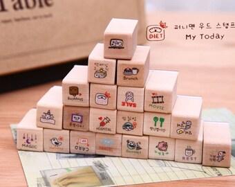 21 Pcs Korean Wood Stamp, Rubber Stamp, Diary Stamp, Deco Stamp, Filofax - My Today