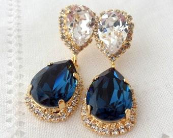 Navy blue and clear Chandelier earrings, Drop earrings, Estate style, Bridal earrings, Deep blue white Swarovski earrings, Gold or silver