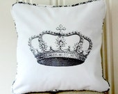 "shabby chic, feed sack, french country, vintage crown illustration with toile and lattice backing 16"" x 16"" pillow sham."