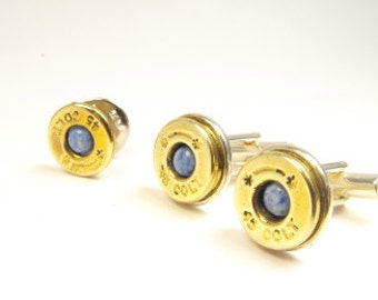 Bullet cufflinks brass and synthetic denim lapis lazuli cufflinks and pin