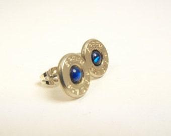 Bullet earrings blue paua shell and nickel plated brass post earrings