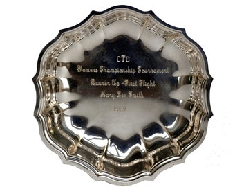 Vintage Engraved Silverplate Scalloped Trophy Dish
