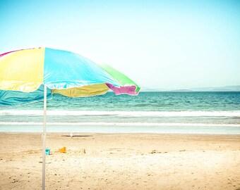 beach photography ocean nautical decor coastal prints 8x10 24x36 fine art photography summer beach umbrella nursery decor pastel waves large