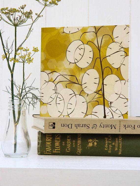 Golden Honesty Card - Autumn / Fall card, winter garden, blank