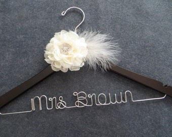 FEATHERS AND LACE Wedding Hanger - Bridal Gown Hanger - Ivory Flower - Mrs Hanger - Wedding Dress Hanger - Personalized Bride Gift - Custom