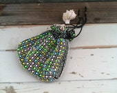 1960's Beaded Reversible Drawstring Purse - Retro Clutch, Purse or Handbag, Vintage Wristlet, Retro Clutch for Girls or Teens, Beaded Purse