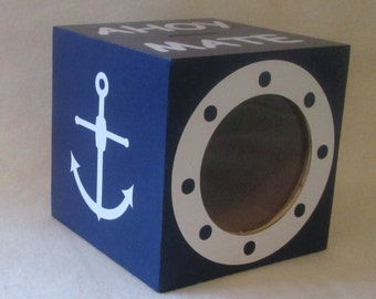 Nautical Piggy Bank - Wood Bank - Coin Bank -  Personalized Wooden Bank - Gift