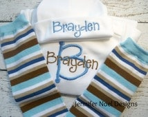 Personalized Take Home Outfit, Take  Home From Hospital,  Gown, leg warmers, Hat Set, Boys Coming Home Outfit, ,