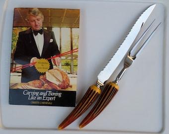 "Vintage Sheffield Carving Knife n Fork, Antler Style Handles with Vintage ""Carving & Boning Like an Expert"" Book"