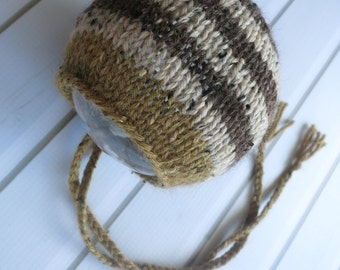 Newborn Brass Yellow and Brown Striped Wool Tweed Classic Knit Bonnet - Ready to Ship Newborn Photography Prop