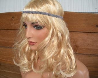 Boho Headband Hippie Headband Headpiece Fashion Accessories Womens Headband Hair Band Forehead Headband Gray braided trim