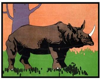 Rhino, Zebra, Giraffe, Elephant  Vintage Art Reproduction -11x14  - Childs Room Decor - Animal Art - Bold colors