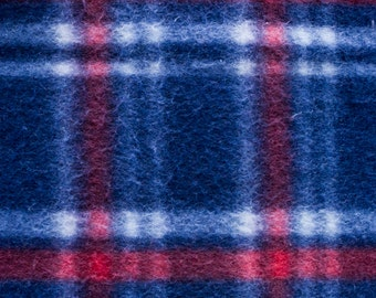 Red, White, and Blue Plaid Print Fleece Fabric by the yard