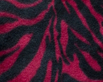 Magenta Zebra Animal Print Fleece Fabric by the yard