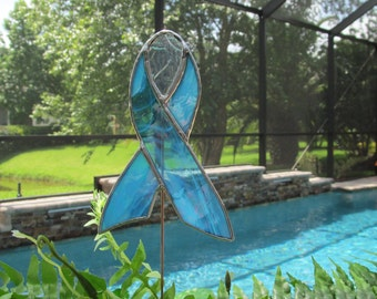Aqua and White Wispy Iridescent Glass Awareness Ribbon  - Stained Glass -  Garden/ Marker/Potted Plant Stake/Memorial Marker