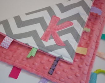 Personalized Chevron  blanket - Coral pink - Baby tag Lovey Security Sensory Ribbon Stroller Travel Minky