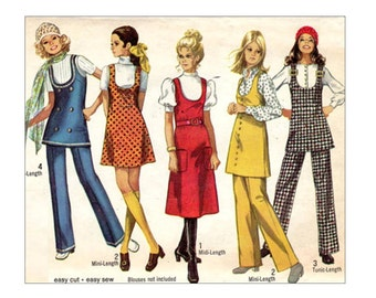 1970's Easy Jumper Pattern U Neck Mini or Midi Jumper or Tunic Top and Pull On Pants Jiffy Simplicity 8904 Bust 34 Vintage Sewing Pattern