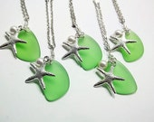 Green Sea Glass Necklace Gift For Her Bridesmaid Summer Wedding Jewelry Starfish Necklace Peridot