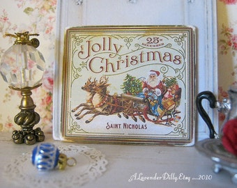 Vintage Jolly Santa Sleigh Sign for Dollhouse