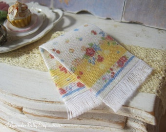 Vintage Yellow Floral Fringed Tea towel for Dollhouse, 1:12 scale