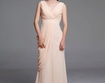 Champagne Wedding dress/Silk Chiffon party dress/ bridesmaid dress/Prom/ handmade/ floor length formal dress - NC519