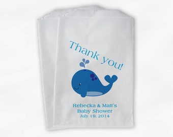 Blue and Turquoise Whale Baby Shower Favor Bags - Personalized Custom Treat Bags for Baby Shower - 25 Paper Bags (0019)