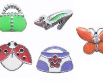 5 slide charms, DIY Mix Slider Charms slide beads, Fit 8mm bands  S0015