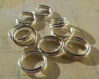 7mm, about 100CT (0.5g), Double loop jump rings, split rings, Silver toned, jump rings, Alloy, Lead free & Nickel free, Cadmium free Z5