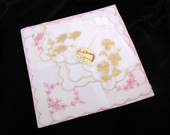 Vintage Embroidered Wedding Hankies - Switzerland Lot of 2 Pink and Gold NOS
