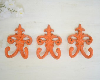 3 Fleur de lis Cast iron Hook,Towel Hook, Jewelry hook,Ornate Key Hook