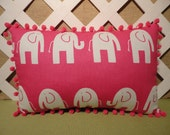 Elephants Pillow in Hot Pink and White