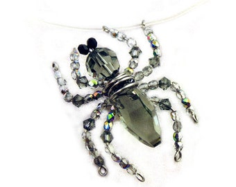 Spider On Your Neck-lace - Creepy Halloween Crystal Spider Necklace by Weirdly Cute Jewelry