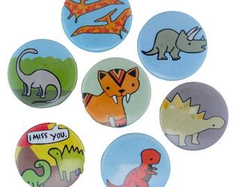 Dinosaur Magnets - Pick your 4 Refrigerator Magnets - Brontosaurus, Stegosaurus, Tyrannosaurus Rex, Pterodactyl, Smilodon, Torosaurus