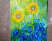 Sunflowers at spring original acrylic painting