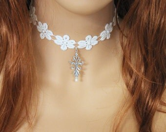 Pearl Lace Flower Choker, Oxidized Silver Pendant Necklace, Daisy Flower Jewelry