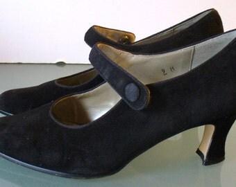 Made in Spain Black Suede MaryJane Style Heels