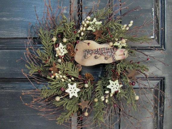 Primitive Snowmen Wreath Winter Wreath Christmas Gift