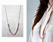Necklace ACACIA I // rose quartz, brass and silk