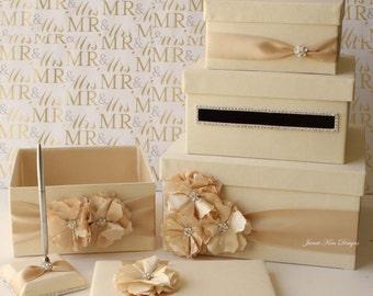 Wedding Card Box Set - Wedding card box, program box, guest book and pen set