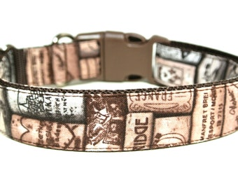 "Wine Cork Dog Collar 1"" Brown Dog Collar"