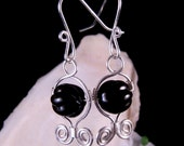 Wire Wrapped Black Round Glass Bead Earrings Silver Wire Dangling Handmade Costume Jewelry Made in Montana Free Shipping to USA Gift Box