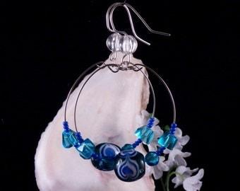 Blue Hoop Earrings - Blue Glass Beaded Earrings - Blue Dangling Earrings - Blue Jewelry - Handmade Costume Jewelry - Made in USA Free Ship