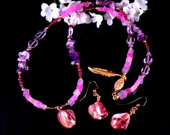 Purple Necklace Earring Set - Purple Stone Glass Mother of Pearl Shell Beaded Jewelry Set - Handmade Costume Jewelry - Free Shipping USA