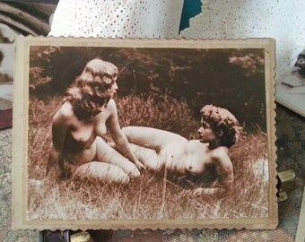 MATURE... Naked In the Great Outdoors... Up-Cycled Victorian Cabinet Card with Erotic Photo Print