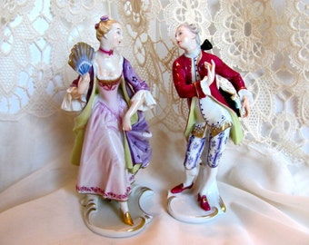 Victorian Porcelain Couple by Rosenthal / Fan Lady and Marquis by Rosenthal China